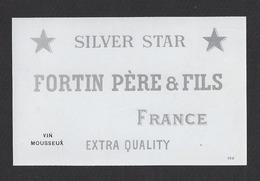 Etiquette De Vin Mousseux  1890/1930  -  Silver Star  -  Fortin Père Et Fils  Région Saumur (49) - Etiquettes