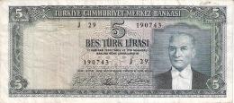 TURQUIE   5 Turk Lirasi   (4/1/1965)   P. 174a - Turquie