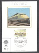 France FDC Maximum Card  - TGV Turbo Train - Rame Postale TGV,  SNCF - First Day Issue 1984 - Cartas Máxima