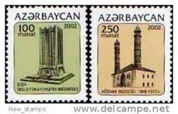 Azerbaijan 2002 Definitive Issue Towers 2v MNH - Azerbaïjan
