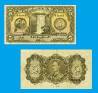 BRITISH GUIANA 5 DOLLARS 1942 - Copy - Copy- Replica - REPRODUCTIONS - Billets