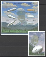 W88 ZAMBIA TRANSPORTATION AVIATION ZEPPELIN THE MAN & HIS AIRSHIPS 1KB+1BL MNH - Zeppelins