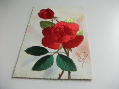 CARTOLINA Ricamata Con Fiore Rosso Rosa Firma - Ricamate