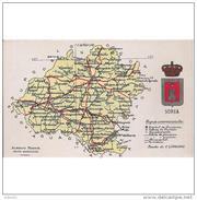 SRATPA2315CPA-LFTMD4249TMAP.Tarjeta Postal SORIA.MAPA GEOGRAFICO POLITICO DE LA PROVINCIA DE SORIA - Mapas