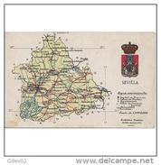 SVLLTPA1852CPA-LFTM7088TMAP.Tarjeta Postal DE SEVILLA.Mapa GEOGRAFICO POLITICO De  SEVILLA - Mapas