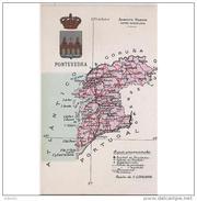 PTVDTPA422CPA-LFTMD4250TMAP.Tarjeta Postal DE PONTEVEDRA.ATLAS GEOGRAFICO-POLITICO DE LA PROVINCIA DE PONTEVEDRA - Mapas