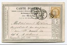 !!! CARTE PRECURSEUR CERES CACHET ET GC 100 D´ANGERVILLE (ESSONNE) 1875 - Cartoline Precursori
