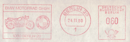 "TI225  Germany 1980 EMA, Red Meter, Freistempel ""BMW MOTORRAD"" - Motos"