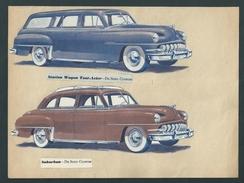 DE SOTO. Voitures Cabriolets Américains.10 Planches Provenant D'un Anc. Catalogue. Modèles Découpés Et Fixés Sur Papier. - Cars