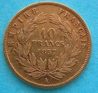 FRANCE - Napoleon III- 10 Franchi 1857  (Parigi)  Gold Oro - Oro