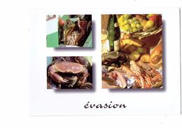 Cpm - EVASION - Bouteille Vin Fruits De Mer Crabe Huître Raisin Pomme Poire Pêcheur - Fish & Shellfish