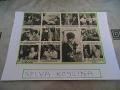 AUTOGRAPHE DÉDICACÉ ET AUTHENTIQUE DE SYLVA KOSCINA SUR COUPURE DE PRESSE COLLÉE SUR GRAND CARTON BRISTOL (Format A4) - Autographes