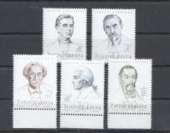 W180 1957 JUGOSLAVIA FAMOUS PEOPLE #834-838 MICHEL 22 EURO 1SET MNH - Famous People