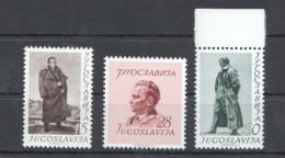 W190 1952 JUGOSLAVIA ART FAMOUS PEOPLE MONUMENTS #693-695 MICHEL 50 EURO 1SET MNH - Famous People