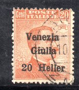 R1589 - VENEZIA GIULIA 1919 , 20h/20cent Sassone N. 31 Usato - 8. WW I Occupation