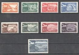 W201 1951 JUGOSLAVIA AVIATION AIRMAIL VIEW NATURE #644-652 !!! MICHEL 80 EURO 1SET MNH - Airplanes