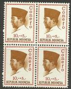 Indonesia - 1965 President Sukarno (Conefo) 10+5 Block Of 4 MNH **    Sc B172 - Indonesia