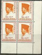 Indonesia - 1965 President Sukarno (Conefo) 12+5.50 Block Of 4 MNH **    Sc B173 - Indonesië