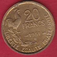 France 20 Francs G. Guiraud - 1951 B - SUP - France