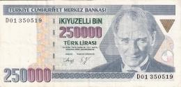 TURQUIE   250,000 Turk Lirasi   (1992)   P. 207 - Turquie