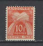 ANDORRE . YT Timbres Taxe 30 Neuf ** 1943-46