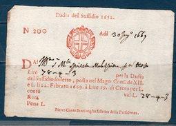 Repubblica Veneta 1669 --Dazi Del Suffidio 1652 -- Manoscritto - Documenti Storici