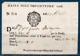 Repubblica Veneta 1668 -- Dazi Dell'Impositione -- Manoscritto - Documenti Storici