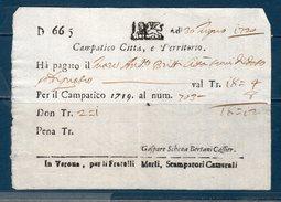 Repubblica Veneta 1720 -- Dazi Campatico Città -- Manoscritto - Documenti Storici