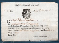Repubblica Veneta 1716 -- Dazi Dell'impositione -- Manoscritto - Documenti Storici