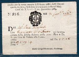 Repubblica Veneta 1687 -- Dazi Per L'annata  -- Manoscritto - Documenti Storici