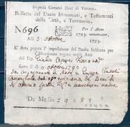 Repubblica Veneta 1793 -- Dazi Per Istrumenti E Testamenti -- Manoscritto - Documenti Storici