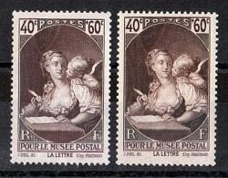 """1939 - Impression """"striée"""" En Bas  - N° 446 Neuf ** - Musée Postal - Errors & Oddities"""
