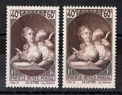 "1939 - Impression ""striée"" En Bas  - N° 446 Neuf ** - Musée Postal"