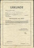 Bestallung - Urkunde Als Arzt, Ärztin, Approbation, Wiesbaden 1956, Hessen, Minister Des Inneren - Diplome Und Schulzeugnisse
