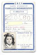 FRANCE  CARTE  S.N.C.F..IDENTITE FAMILLE NOMBREUSE .744..50%.1960...TBE.. SCAN - Abonnements Hebdomadaires & Mensuels