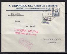 España 1937. Canarias. Carta De Tenerife A Darmstadt. Censura. - Marcas De Censura Nacional