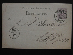 Allemagne - POSTKART Carte Postale Entier Postal Vers 1870-1875 / OBLITERATION à VOIR / Deutsche Reich - Covers & Documents