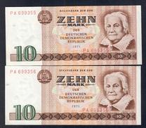 Germania Ddr 10 Mark 1971 Lotto Di 2 Biglietti Consecutivi Sup  LOTTO 129 - [ 6] 1949-1990 : RDA - Rep. Dem. Alemana