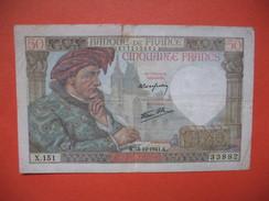 Billet De Banque De France De Cinquante Francs Du 18 Dedecembre 1941 , N° 33882 - X.151 TBE - 50 F 1940-1942 ''Jacques Coeur''