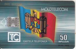 MOLDOVA - Flag, Monument, Moldtelecom Telecard 50 Units, Tirage 30000, 09/95, Used