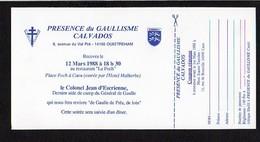 """Carte Invitation Au Restaurant """"Le Foch"""" à Caen / Soirée Diner Colonel Jean D'Escrienne Aide De Camp De De Gaulle - Faire-part"""