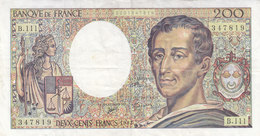 Billet 200 F Montesquieu 1992 FAY 70.12a Alph. B.111 1 épinglage - 1962-1997 ''Francs''