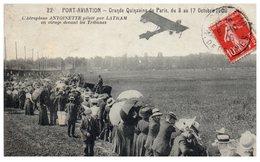 PORT Aviation - Grande Quinzaine De Paris 1909- L'aéroplane Antoinette Piloté Par LATHAM En Virage Devant Les Tribunes - Meetings