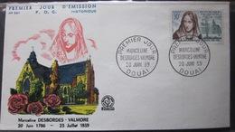 Enveloppe FDC 301 - 1959 - Marceline Desbordes Valmore - Douai - YT  1214 - France