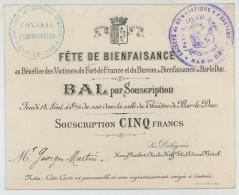 Fête De Bienfaisance Au Bénéfice Des Victimes De Fort-de-France. Sapeurs-pompiers De Bar-le-Duc. Martinique . 1902. - Mededelingen