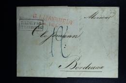 Germany:  Complete Letter R1 Mannheim -> Bade Par Strasbourg -> Bordeaux France 1824 - Allemagne