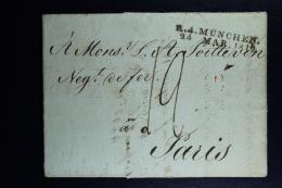 Germany:  Complete Letter R.4 Munchen  ->  Par Strasbourg -> Paris France  1812 - [1] Prephilately