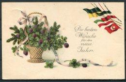1916 Germany Turkey WW1 Patriotic Flags New Year Postcard. Ehrenberg - Patriotic