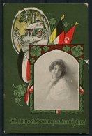 1917 Germany Turket WW1 Patriotic Flags New Year Postcard. - Patriotic