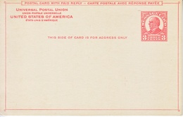 US UY 12  **  WITH  REPLY CARD   ATTACHED, - Postal Stationery
